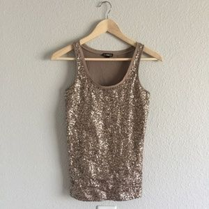 EXPRESS Sequin Champagne Gold Tank Top